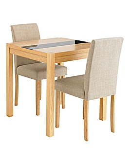 Oakham Glass Panel Square Table 2 Chairs
