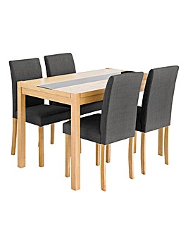 Oakham Glass Panel Oak Veneer Rectangular Dining Table and 4 Mia Fabric Chairs