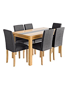 Oakham Glass Panel Oak Veneer Large Dining Table and 6 Mia Fabric Chairs