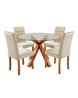 Albany Circular Dining Table with 4 Grace Velvet Chairs