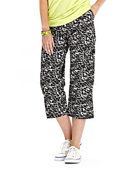 Animal Print Cropped Combat Trousers