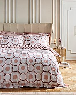 Trellis Reversible Cotton Digital Printed Duvet Cover Set