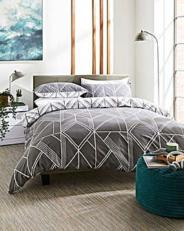 Brooklyn Geo Charcoal Duvet Set