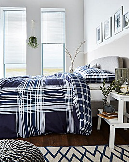 Clarence Navy Check Duvet Set