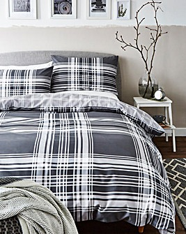 Clarence Charcoal Check Duvet Set