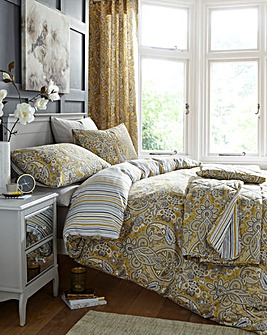 Maduri Ochre Reversible Duvet Cover Set