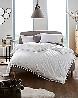 Pearl Pom Pom White Cotton Duvet Set