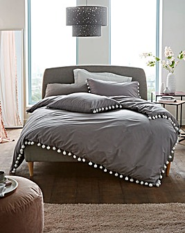 Pearl Pom Pom Charcoal Cotton Duvet Set
