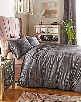 Crinkle Velvet Charcoal Duvet Set