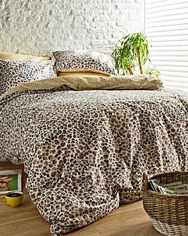 Lovely Leopard Print Ochre Reversible Duvet Set