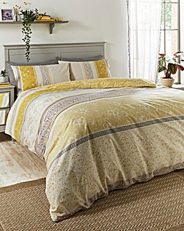 Judy Printed Reversible Ochre Duvet Cover Set