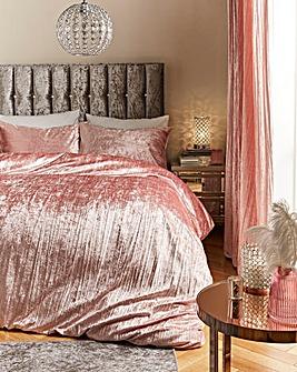 Crinkle Velvet Pink Duvet Set