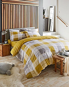 Chelsea Check Ochre Reversible Brushed Cotton Duvet Set