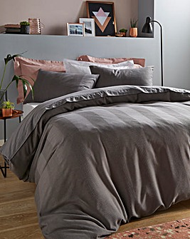 Waffle Stripe Charcoal Duvet Cover Set