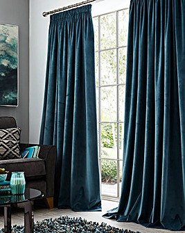 Luxury Heavyweight Velour Long Length Lined Pencil Pleat Curtains