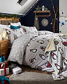 Snowy Penguins Duvet Cover Set
