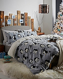Cosy Penguin Fleece Duvet Cover Set