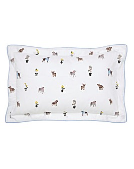 Joules Garden Dogs Oxford Pillow Case