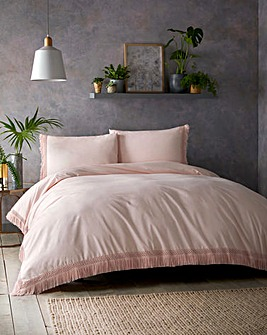 Tasha Tassels Pink 180 Thread Count Cotton Duvet Cover Set
