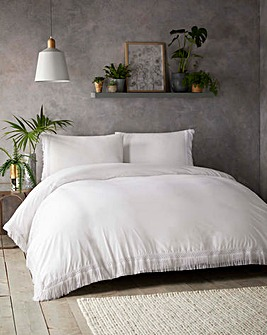 Tasha Tassels White Cotton Duvet Set