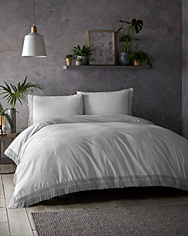 Tasha Tassels Silver Cotton Duvet Set