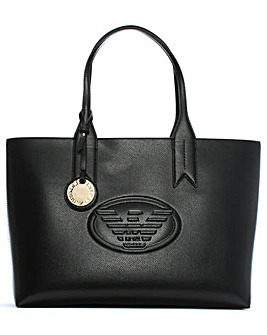 Emporio Armani Textured Logo Shopper Bag