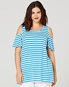 Blue Stripe Cold Shoulder T-shirt