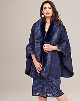 Joanna Hope Faux Fur Cape