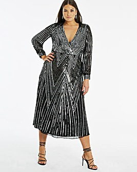 Joanna Hope Sequin V Neck Midi Dress