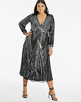Joanna Hope Sequin V Neck Midi Dress