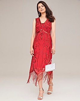 Joanan Hope Beaded Fringe Midi Dress