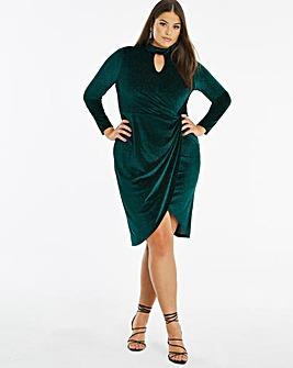 Joanna Hope Sparkle Velour Twist Dress