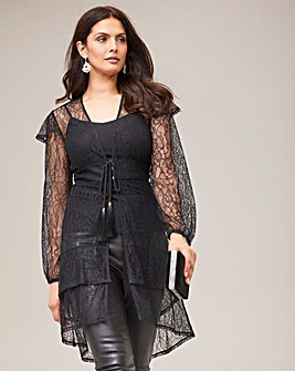 Joanna Hope Hi-Low Lace Blouse
