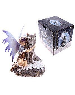 Fantasy Snow Fairy and Wolf Figurine