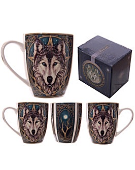 Fantasy Wolf Head Bone China Mug