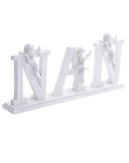 NAN Letter Cherub Ornament on Base