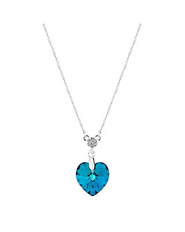 Jon Richard made with Swarovski Crystals Blue Pave Heart Pendant