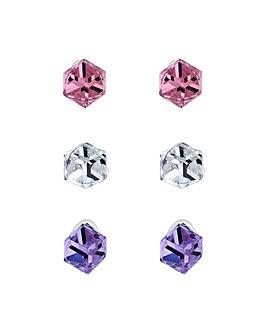 Jon Richard 3 Pack Summer Cube Earrings