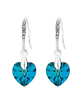 Jon Richard Blue Heart Drop Earring