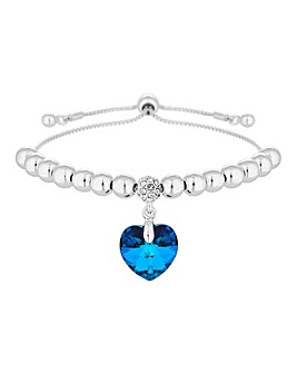 Jon Richard made with Swarovski Crystals Blue Heart Toggle Bracelet
