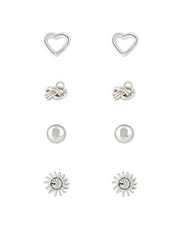 Sterling Silver 4X Mix Stud Set