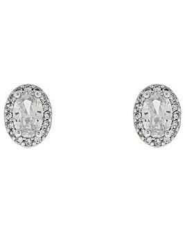 Platinum halo Oval Crystal Studs