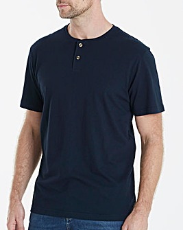 Navy Grandad T-Shirt Long