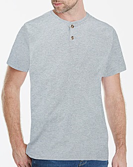 Grey Marl Grandad T-Shirt Long