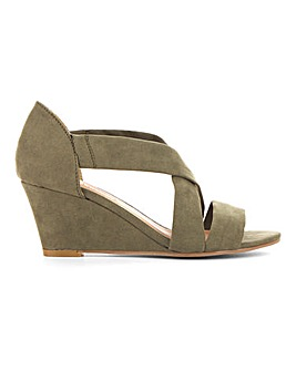 Soft Crossover Wedge Sandals Wide E Fit