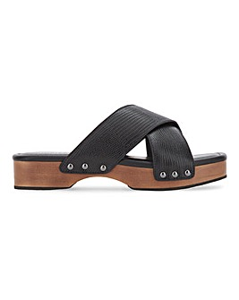Leather Crossover Clog Mule Sandals Extra Wide EEE Fit