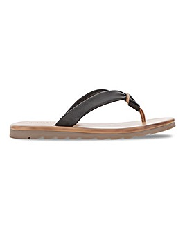 Soft Leather Toe Post Mule Sandals Wide E Fit