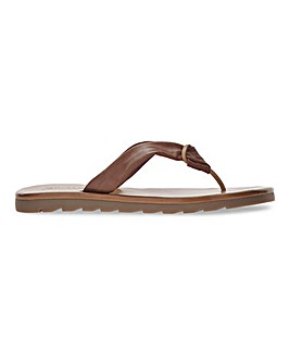 Soft Leather Toe Post Mule Sandals Extra Wide EEE Fit