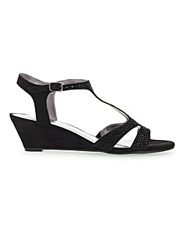 T Bar Wedge Sandals E Fit