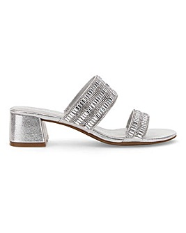 Embellished Block Heel Mule Sandals Wide E Fit